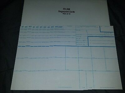 Fd 258 cards in envelope 10 count finger print back ground clearance