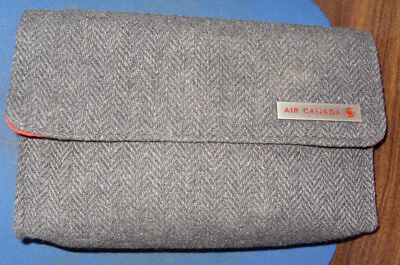 Air Canada Business First Class Gray Tweed w/ Red Amenity Tote Kit Clutch Bag