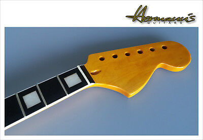 Stratocaster Canadian Maple Replacement Neck, Big Headstock, White Bindings, TOP