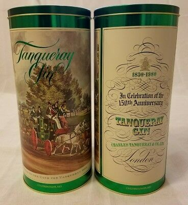 Tanqueray Gin Liquer Tin Lot of 2 150th Anniversary Limited Edition Green White