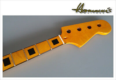 70s Precision Bass Replacement Neck, Canadian Maple mit Block Inlay´s, Top