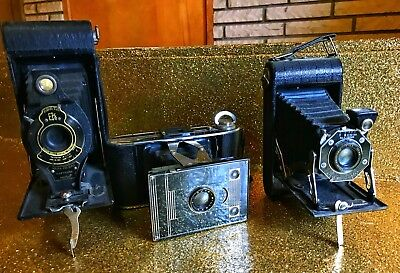 Vintage Camera Lot Accordian Style Lot Of 3