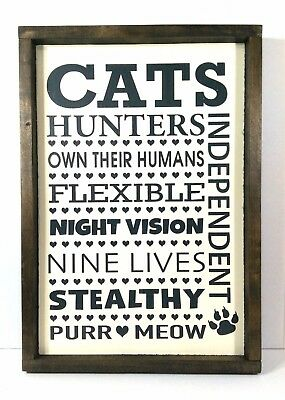 "Handmade Painted Rustic Framed CATS Wooden Sign Subway Art 12"" x 18"" Home Decor"
