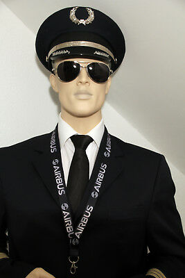 Airbus Black/White Lanyard neckstrap Lanyard for pilots, crews, fans