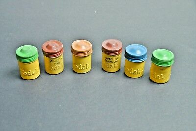 VTG Lot of 6 Old KODAK Embossed Aluminum 35mm Film Canisters Cans Colored Lids