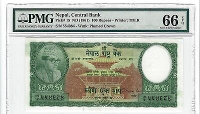 P-15 1961 100 Rupees, Nepal Central Bank, PMG 66EPQ Nice!