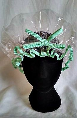 Clear Shower Cap with Striped Green Trim