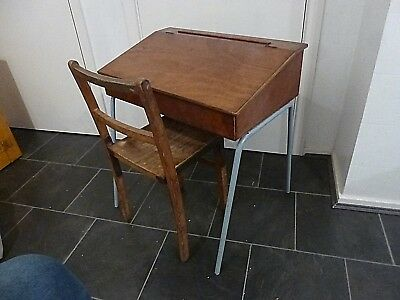 Vintage Wooden Child's School Mid Century Lidded Desk And Chair Set