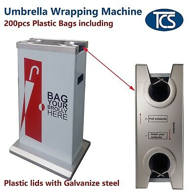 TCS Umbrella Wrapping Bagging Machine Dual Plastic Top Galvanized Steel Stand