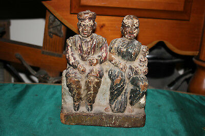 Antique Wood Carving Old Man & Woman W/Child-Seated Couple-Aged Patina