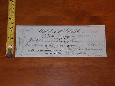 United States Glass Co 1914 Bank Check Signed By President $458.00 Union