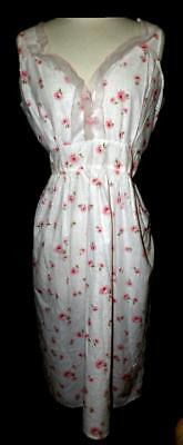 SWEET CHIC VTG 50s 60s PINK ROSE BUD POLKA DOT COTTON NIGHTGOWN NIGHTIE NEW M L