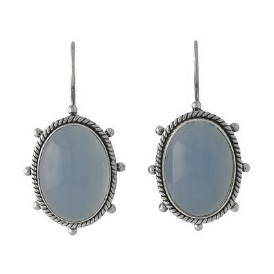 Brand New Pair Handwrought Beaded 925 Sterling Silver & Blue Chalcedony Earrings