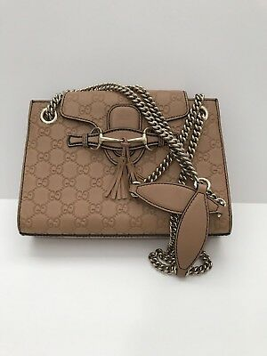 dbaa0a5b35990 GUCCI Emily GG Guccissima Leather Shoulder Handbag Beige Small Double Chain