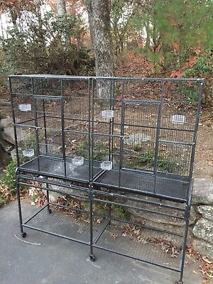 Large Aviary Breeding Bird Finch Parakeet Flight Cage With Divider BLK