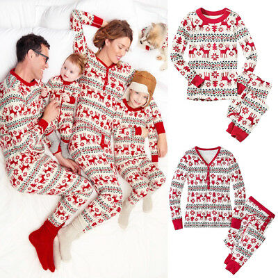 Christmas Family Matching Pajamas Set Baby Kids Cotton Sleepwear Nightwear Gift