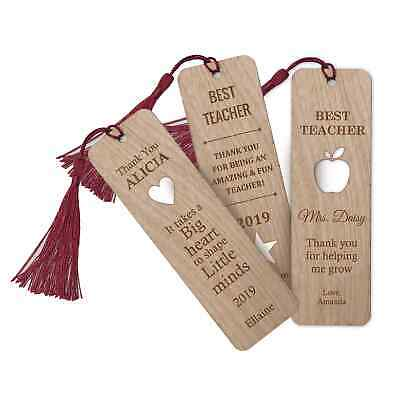 Personalised Engraved Teacher Wooden Bookmark with tassel End of Term Christmas