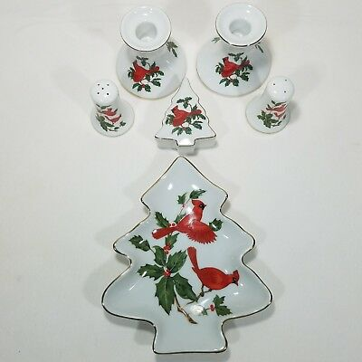 Vintage Cardinal Lefton Christmas Candle Tree Dish Salt Pepper Trinket Mugs