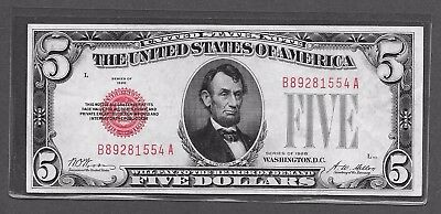 1928 $5 United States Note Red Seal Uncirculated