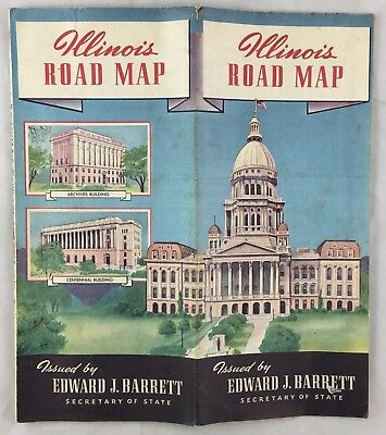 Antique 1940 Census Illinois State Road Map Courthouse Sec State Edward Barrett
