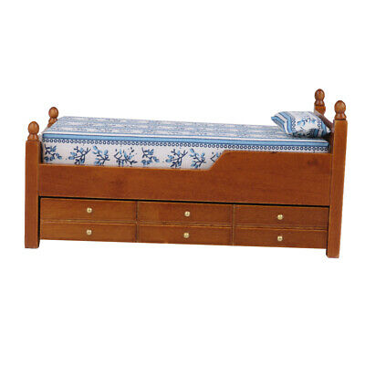Dollhouse Wood Bed With Bottom Trundle Drawer Floral Print Bedroom Furniture