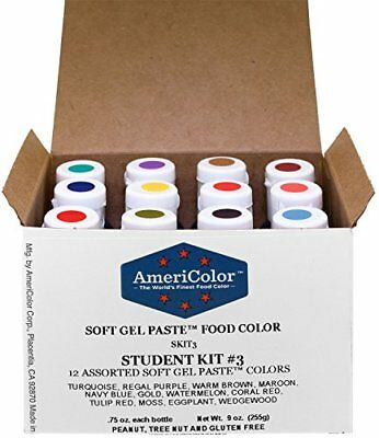 Food Coloring AmeriColor Student Kit 3 12 .75 Ounce Bottles Soft Gel Paste Co...