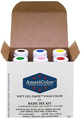AmeriColor Basic Six Kit Soft Gel Paste Food Color 0.75 Ounce 6 Pack Kit