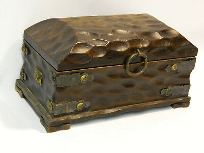 Antique Medieval Style Hand-Carved Wooden Treasure Box - Very Cool!