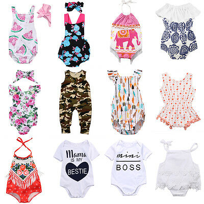 Floral Newborn Baby Boy Girl Romper Bodysuit Jumpsuit Outfit Sunsuit Clothes AU