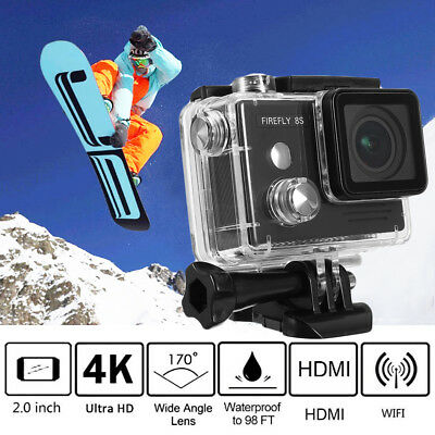 Hawkeye Firefly 8S 4K Waterproof 2.0'' 170° Bluetooth WiFi Sports Action Camera