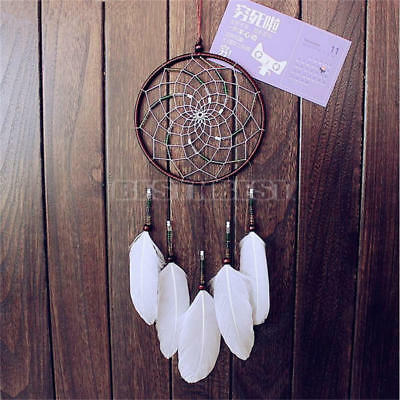 Handmade Dream Catcher With White Feathers Car Wall Hanging Decor Ornament Gift