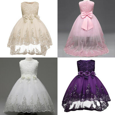 Flower Girls Princess Dress Kids Party Wedding Pageant Formal Lace