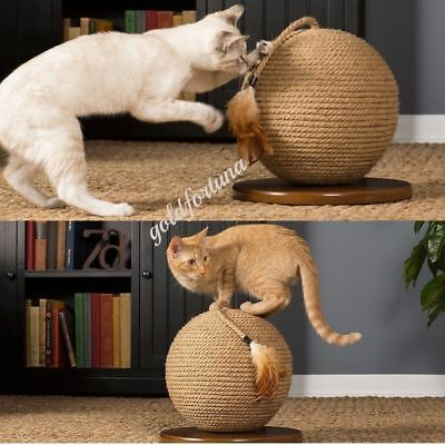 Big Cat Scratcher Kitty Scratching Pet Exercise Play Sisal Sphere Kitten Toy