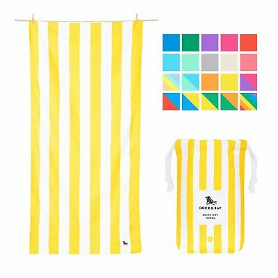 Quick Dry Beach Towels - Compact & Sand Free - Blue Stripes