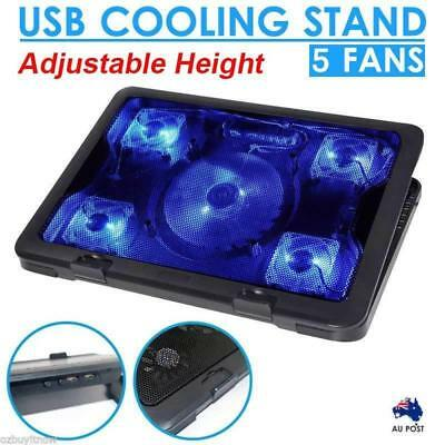 Portable Laptop Notebook Adjustable Height LED Table Stand 2 USB 5 Cooling Fans
