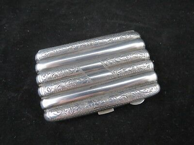 Antique Edwardian Hallmarked Sterling Silver Cheroot Cigarette Card Case 1915