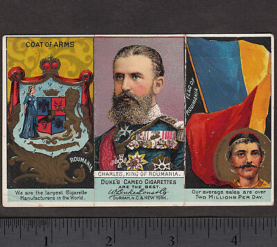 1888 King Charles Romania N126 Duke Rulers Flags & Coat of Arms Tobacco Card