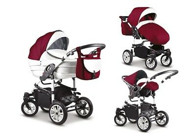 Kinderwagen Camello 3 in 1 - Set Wanne Buggy Babyschale ( Purple + Waiss  )