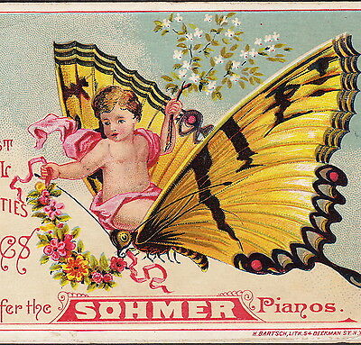 Sohmer Piano Fairy Yellow Butterfly 1800's old Victorian Advertising Trade Card