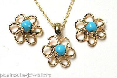 9ct Gold Turquoise Pendant and Earring Set Made in UK Gift Boxed
