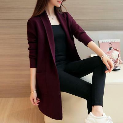 Women Cardigans Coats For Winter Autumn With Pockets Knitted Solid Long Sweaters