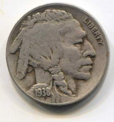 US 1938 D Indian Buffalo Nickel - American Five Cent Coin - Denver Mint