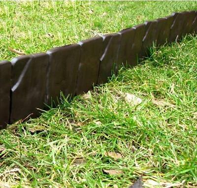 Plastic Garden Fence Edging Border Liner Wall Path Lawn Grass 2,5m BJSTB Brown