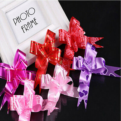 LARGE 50 Ribbon Bows assorted colour easy pull flowers ribbon party decoration D