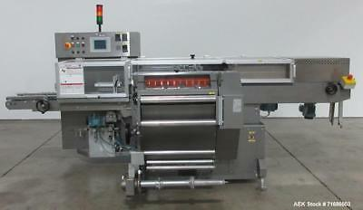 Used- IMA BFB Model 3711U Automatic Overwrapping Machine. Is capable of maximum