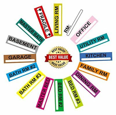 Large Home Moving Labels Set | 200 Color Coded Room 5-Bedroom Box Stickers Wi...