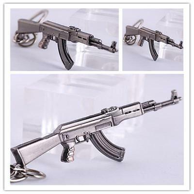 Cosplay CF Long Zinc Alloy 65mm AK47 gun Weapon Model Met Pendant Key Chains FGS