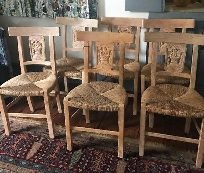 6- floral carved French Provincial/country primitive  Rush Seat Dining Chairs