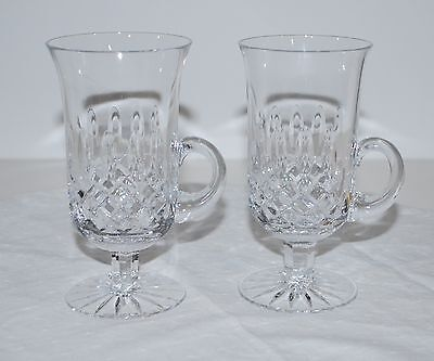 Fine Irish Hand Cut Crystal  Diamond Point Irish Coffee Mugs  Beautiful Quality