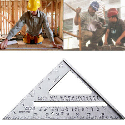 "7"" Metal Square Carpenter Measuring Ruler Layout Tools Triangle Angle Protractor"
